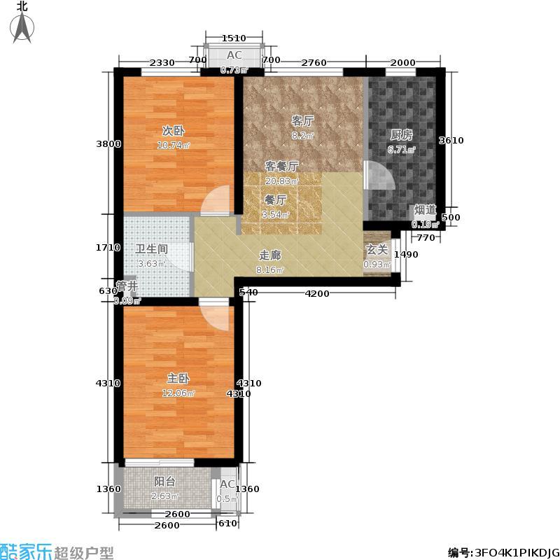 金隅汇景苑83.00㎡1号楼中间户B-7户型2室2厅