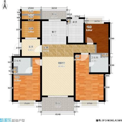 翡丽云邸3室1厅2卫1厨125.00㎡户型图