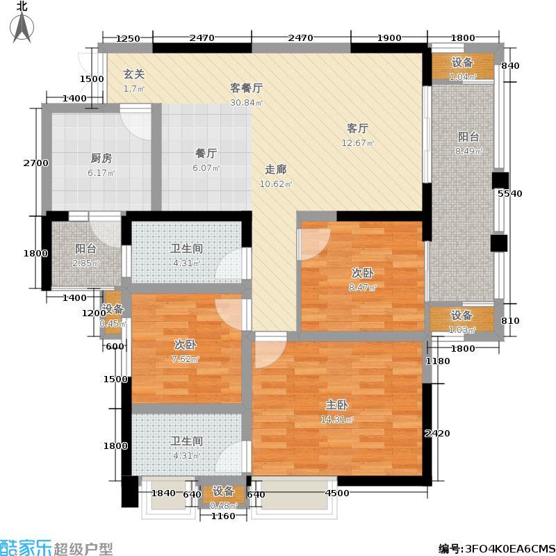 首航欣程114.89㎡一期12号楼标准层D5户型