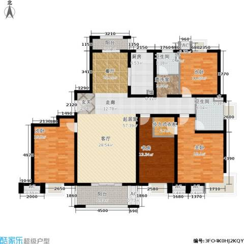 恒盛湖畔豪庭4室0厅2卫1厨170.00㎡户型图