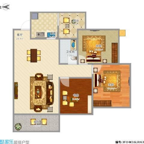 书香府邸3室1厅1卫1厨105.00㎡户型图