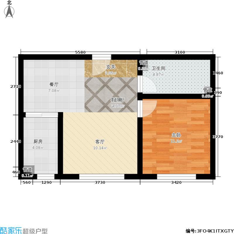 蔚海新天地59.45㎡蔚海·新天地小高层YG1户型1室2厅