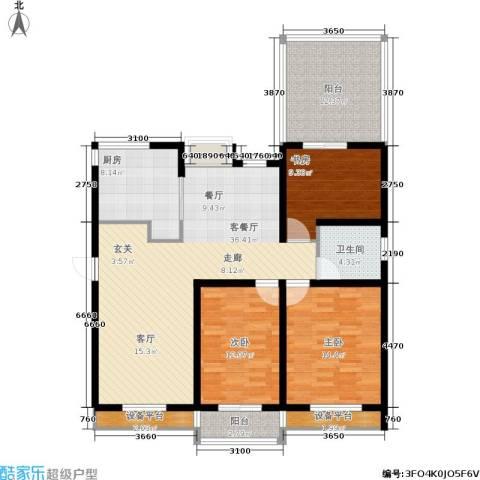 临港海滨国际花园3室1厅1卫1厨119.00㎡户型图