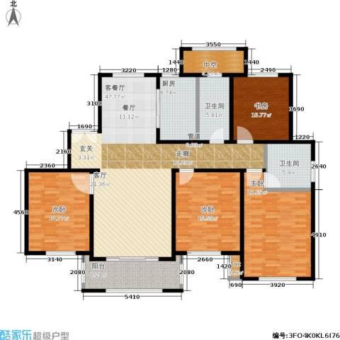 宝华海尚郡领4室1厅2卫1厨156.00㎡户型图