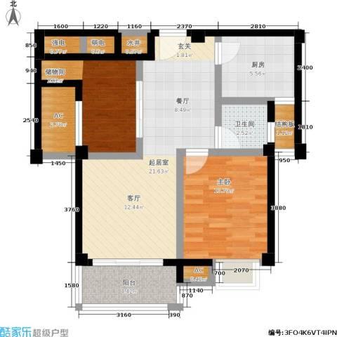 百盛国际名都2室0厅1卫1厨70.00㎡户型图