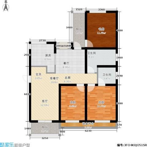 临港海滨国际花园3室1厅2卫1厨136.00㎡户型图