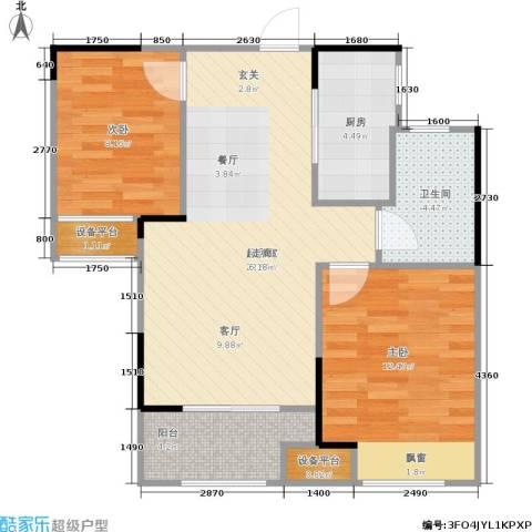 朗诗里程2室0厅1卫1厨70.00㎡户型图