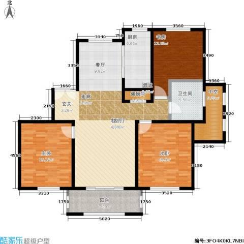 宝华海尚郡领3室1厅1卫1厨125.00㎡户型图