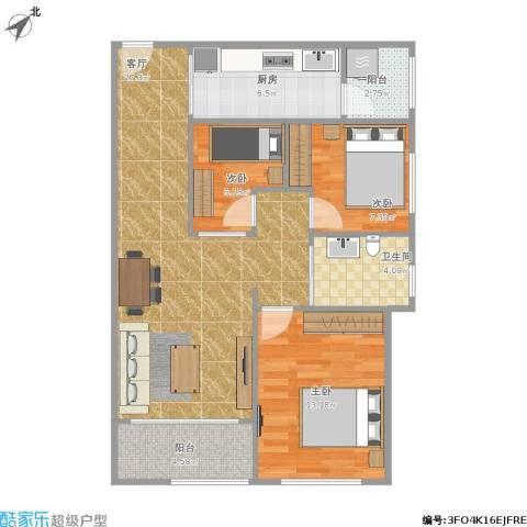 君华硅谷3室1厅1卫1厨97.00㎡户型图