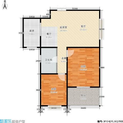 广厦水岸东方2室0厅1卫1厨95.00㎡户型图