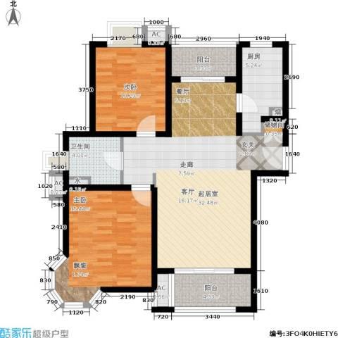 恒盛湖畔豪庭2室0厅1卫1厨90.00㎡户型图