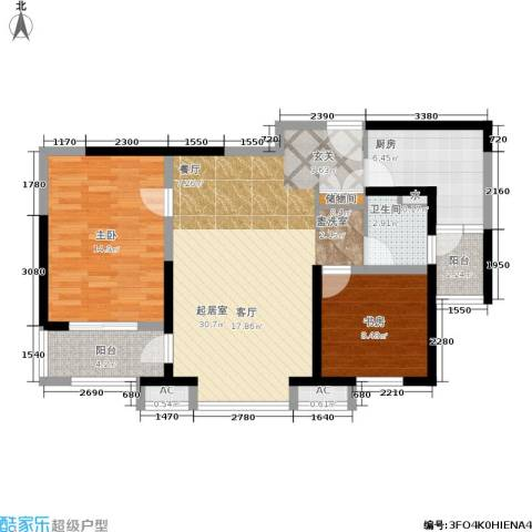 恒盛湖畔豪庭2室0厅1卫1厨83.00㎡户型图