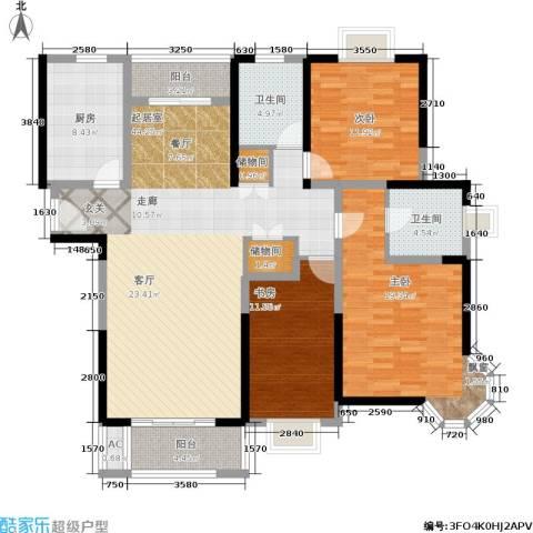 恒盛湖畔豪庭3室0厅2卫1厨133.00㎡户型图