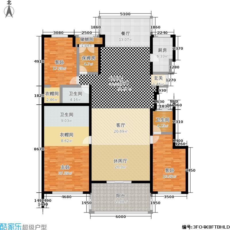 置地公馆256.24㎡L座502三室三厅三卫户型