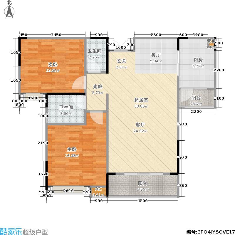 珠江国际80.14㎡一期B9栋标准层5号房户型