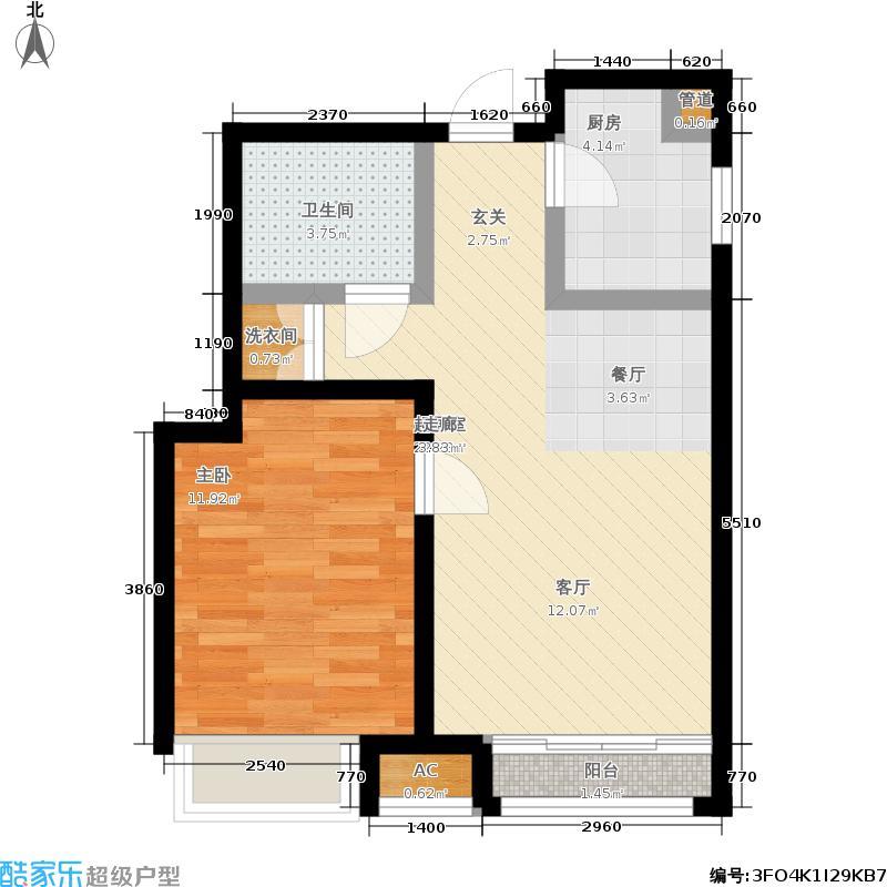 曦城花语56.00㎡二期高层户型1室1厅