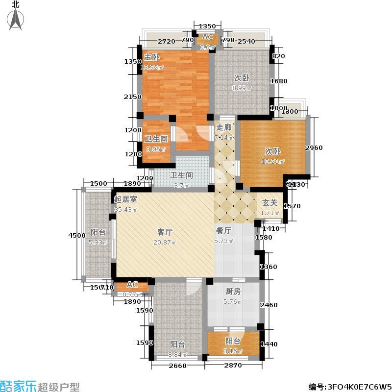 中铁塔米亚127.57㎡一期6号楼标准层E1户型