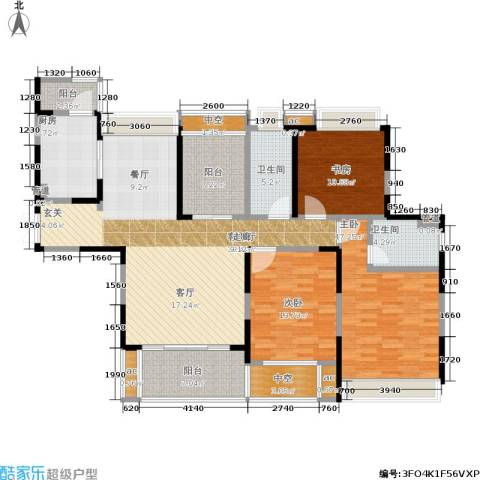 九方城3室1厅2卫1厨138.00㎡户型图