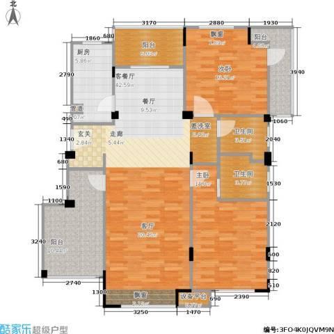浦发御园2室1厅2卫1厨113.00㎡户型图