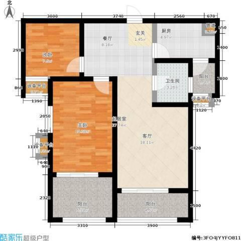 金城丽景2室0厅1卫1厨89.00㎡户型图