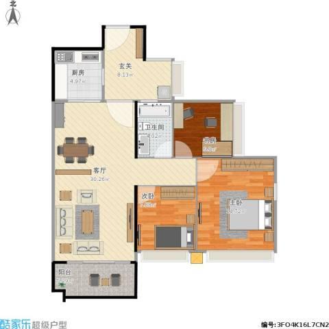 保利生态城3室1厅1卫1厨110.00㎡户型图