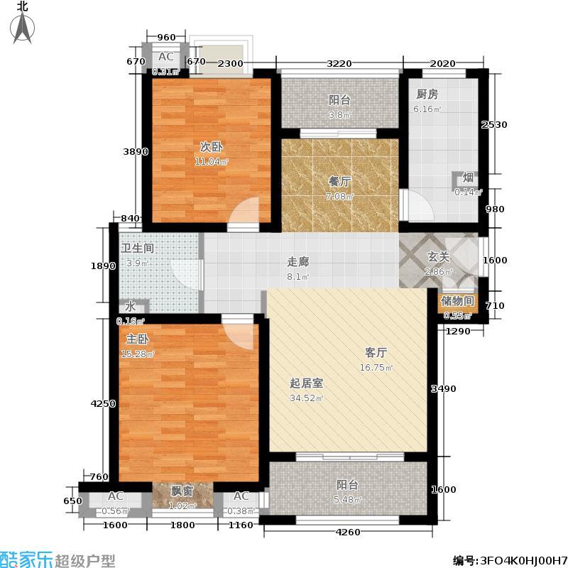 恒盛湖畔豪庭96.00㎡北区E1面积9600m户型