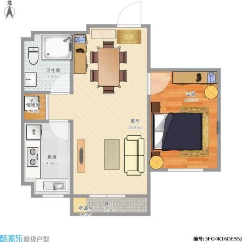 君海朗郡花田二期1室1厅1卫1厨56.00㎡户型图