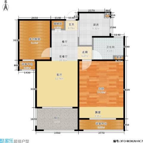 绿地21城滨江汇1室1厅1卫1厨72.00㎡户型图