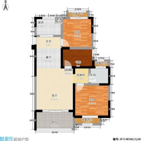 常发豪郡3室0厅1卫1厨90.00㎡户型图