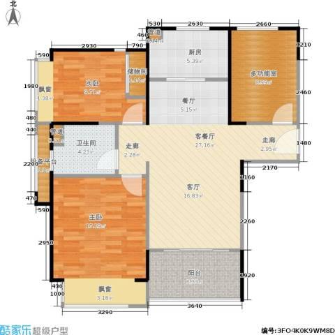 绿地21城滨江汇2室1厅1卫1厨89.00㎡户型图