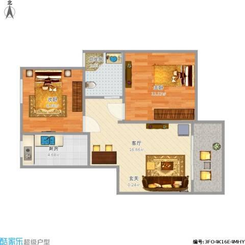 盛世春晓苑2室1厅1卫1厨68.00㎡户型图