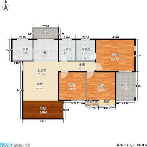 广厦水岸东方3室0厅2卫1厨113.00㎡户型图