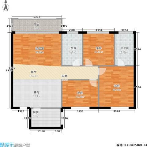 天通苑西一区3室1厅2卫1厨124.00㎡户型图