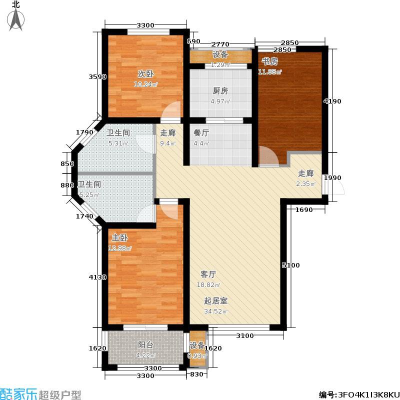 金屋秦皇半岛127.68㎡一区A户型3室2厅