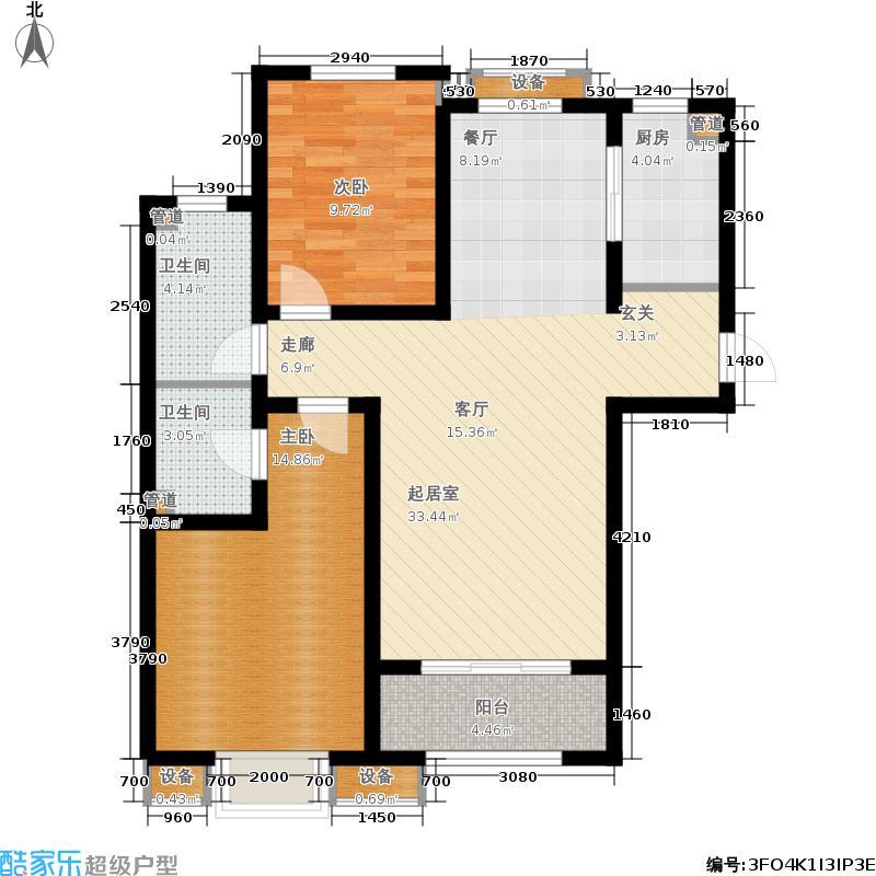 金屋秦皇半岛110.00㎡一区16号楼户型2室2厅