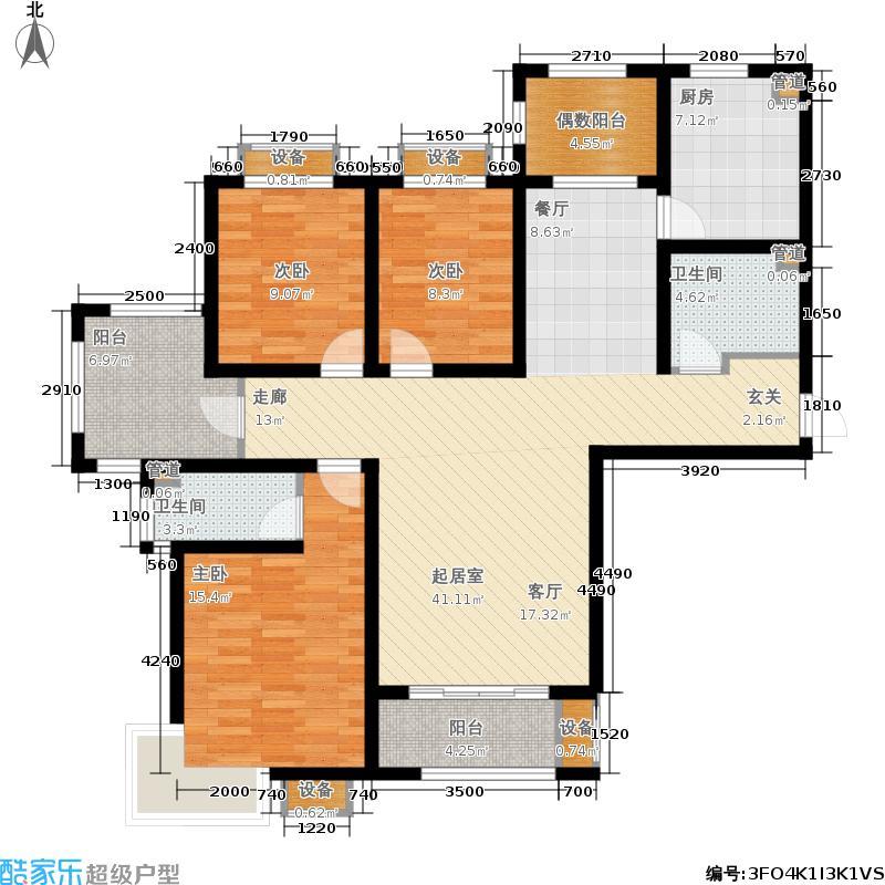 金屋秦皇半岛133.60㎡八区12号楼A户型3室2厅