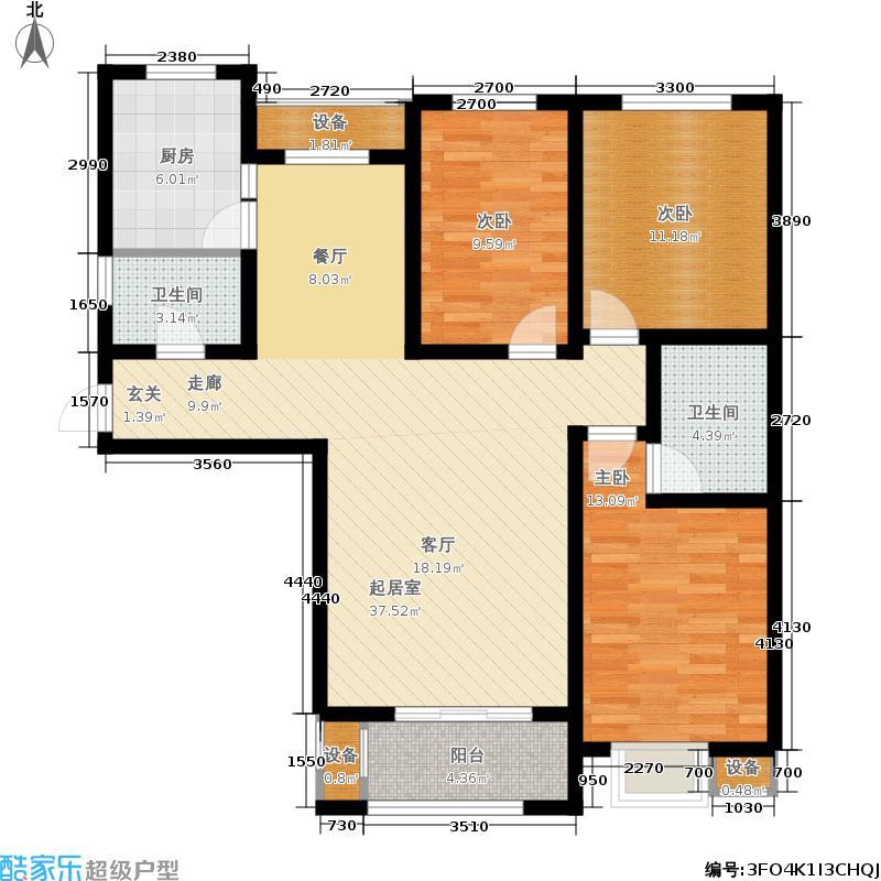 金屋秦皇半岛127.00㎡一区2号楼户型3室2厅