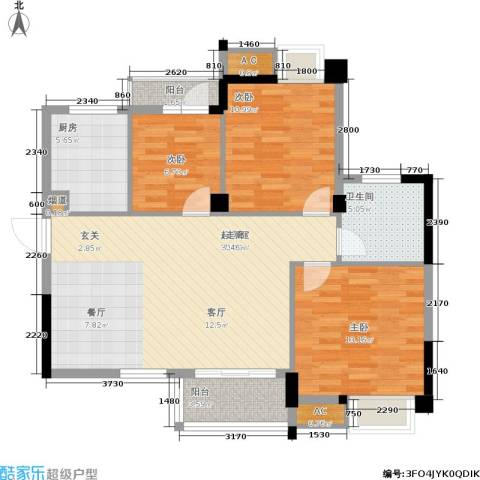 中民长青里3室0厅1卫1厨89.00㎡户型图