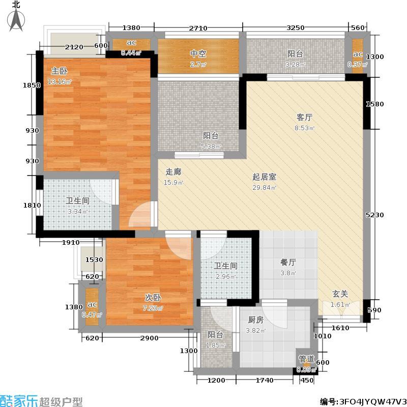 联发瞰青95.78㎡一期湖光院馆62号楼标准层6号房户型