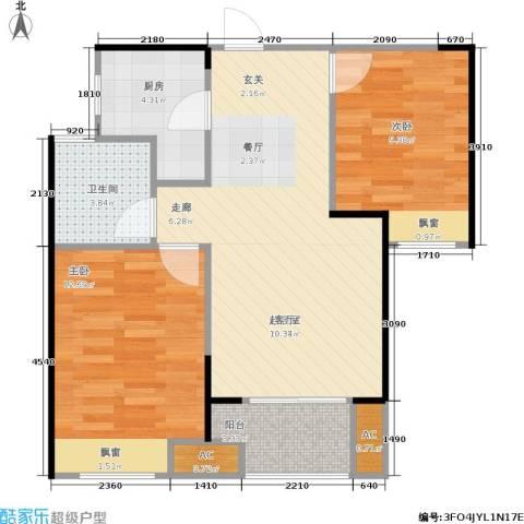 朗诗里程2室0厅1卫1厨71.00㎡户型图