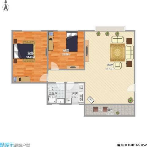 东方新地苑2室1厅1卫1厨101.00㎡户型图
