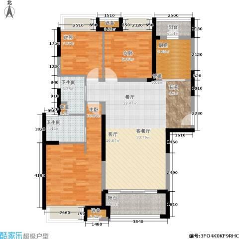 日月光伯爵天地3室1厅2卫1厨104.00㎡户型图
