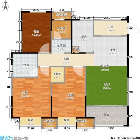 金科中心3室0厅2卫1厨117.00㎡户型图
