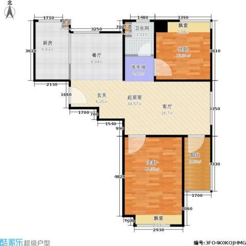 骏丰玲珑坊2室0厅1卫1厨85.00㎡户型图