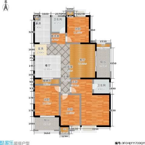万裕龙庭水岸4室0厅2卫1厨164.00㎡户型图