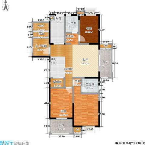 万裕龙庭水岸3室0厅2卫1厨134.00㎡户型图