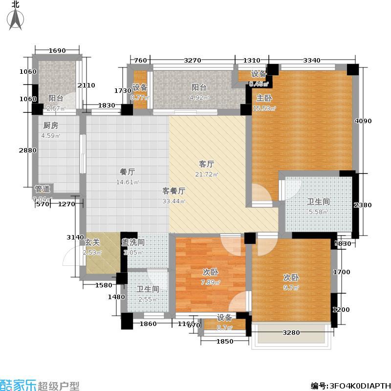 远大林语城南庭112.62㎡一期64号楼标准层C3-1户型