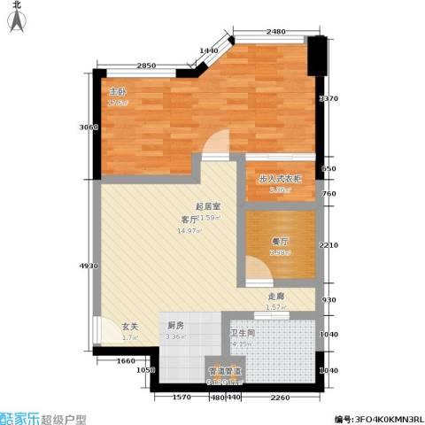 陕西北路16881室1厅1卫0厨59.00㎡户型图