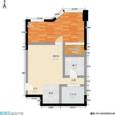 陕西北路16881室1厅1卫0厨55.00㎡户型图