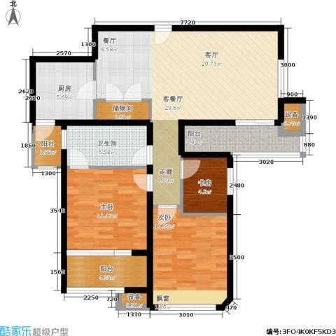 日月光伯爵天地3室1厅1卫1厨93.00㎡户型图